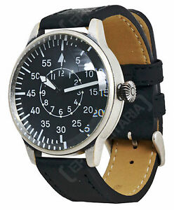 Vintage PILOT WATCH with Black Leather Strap Retro WW2 Style Military Wristwatch