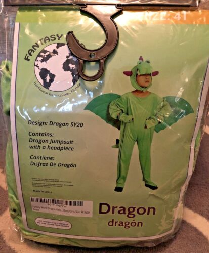NEW Fantasy World Dragon Costume Halloween Play Dress-Up Unisex Toddler Size 4T