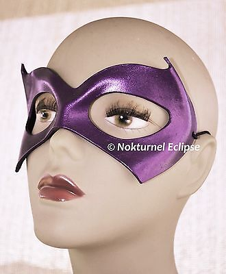 Black & Purple Batgirl Leather Mask Batman Superhero Halloween Costume Cosplay ()