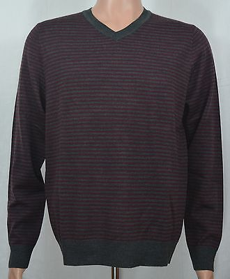 Apt. 9 NEW Men's Gray & Burgundy Stripe V-Neck Sweater MSRP $56