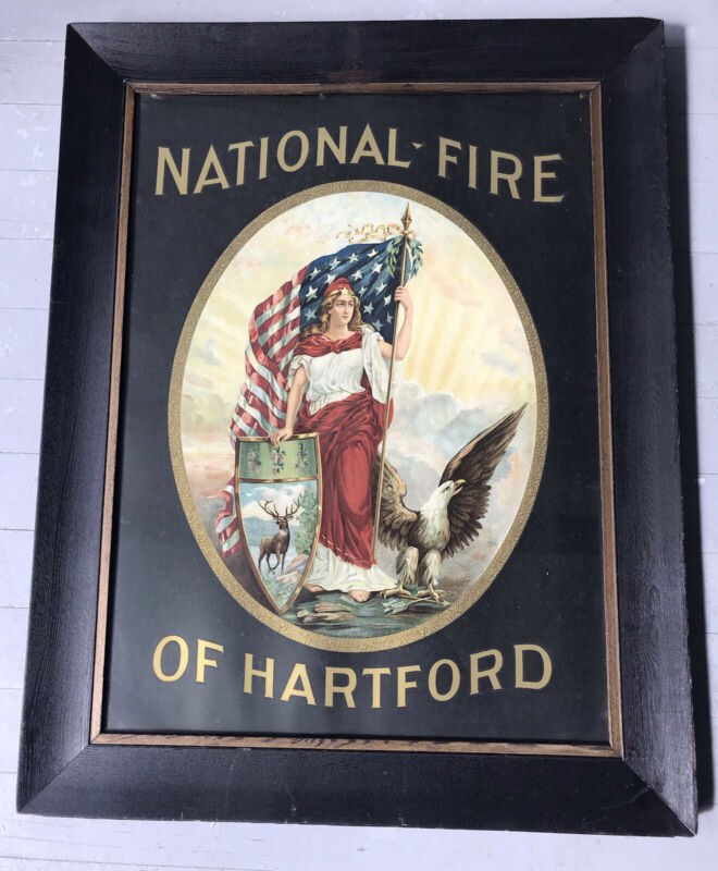 ANTIQUE FRAMED ADVERTISING LITHOGRAPH, NATIONAL FIRE OF HARTFORD