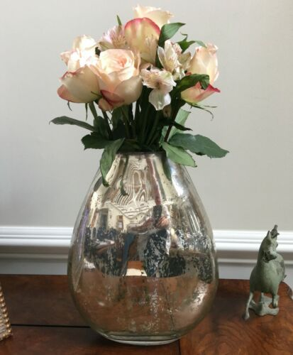 LARGE ANTIQUE SILVER MERCURY GLASS VASE NWT