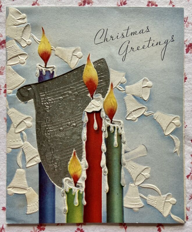 Vintage 1940s Embossed Christmas Bells Flaming Candles Greeting Card