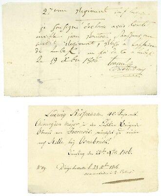 Schlacht bei LÜBECK 1806 Billet Feldchirurg 27. Regiment der Leichten Infanterie