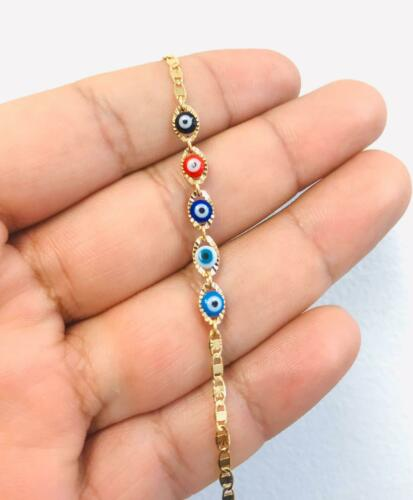 Newborn Baby/Children Boy/Girl Gold Filled Evil Eye Bracelet, Pulsera Para Bebe