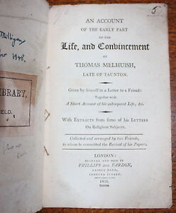 1805-Life-Convincement-Thomas-Melhuish-TAUNTON-Quakers-Society-Friends-1st-Ed
