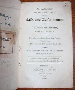 1805-Life-Convincement-Thomas-Melhuish-TAUNTON-Quakers-Society-Friends-1st-Ed