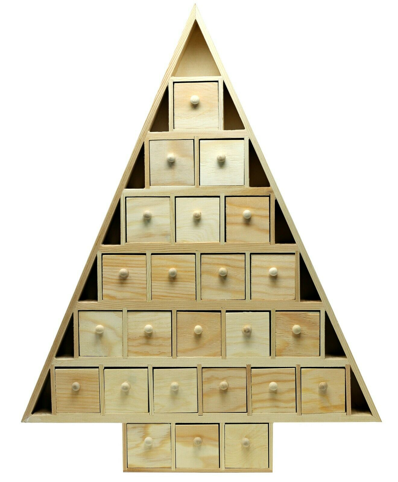 20 Inch Tall Christmas Tree Shaped Advent Calendar, Unfinished Wood, 24 drawers Crafting Pieces