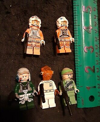 Genuine Lot 5 Lego Star Wars minifigures  Ackbar A-Wing X-Wing Pilots EndorRebel