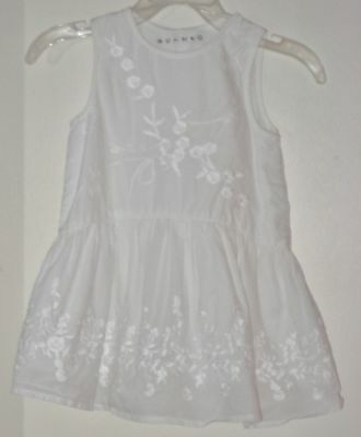 NUTMEG Size 9-12 Months White Sleeveless Embroidered Fully-Lined Dress