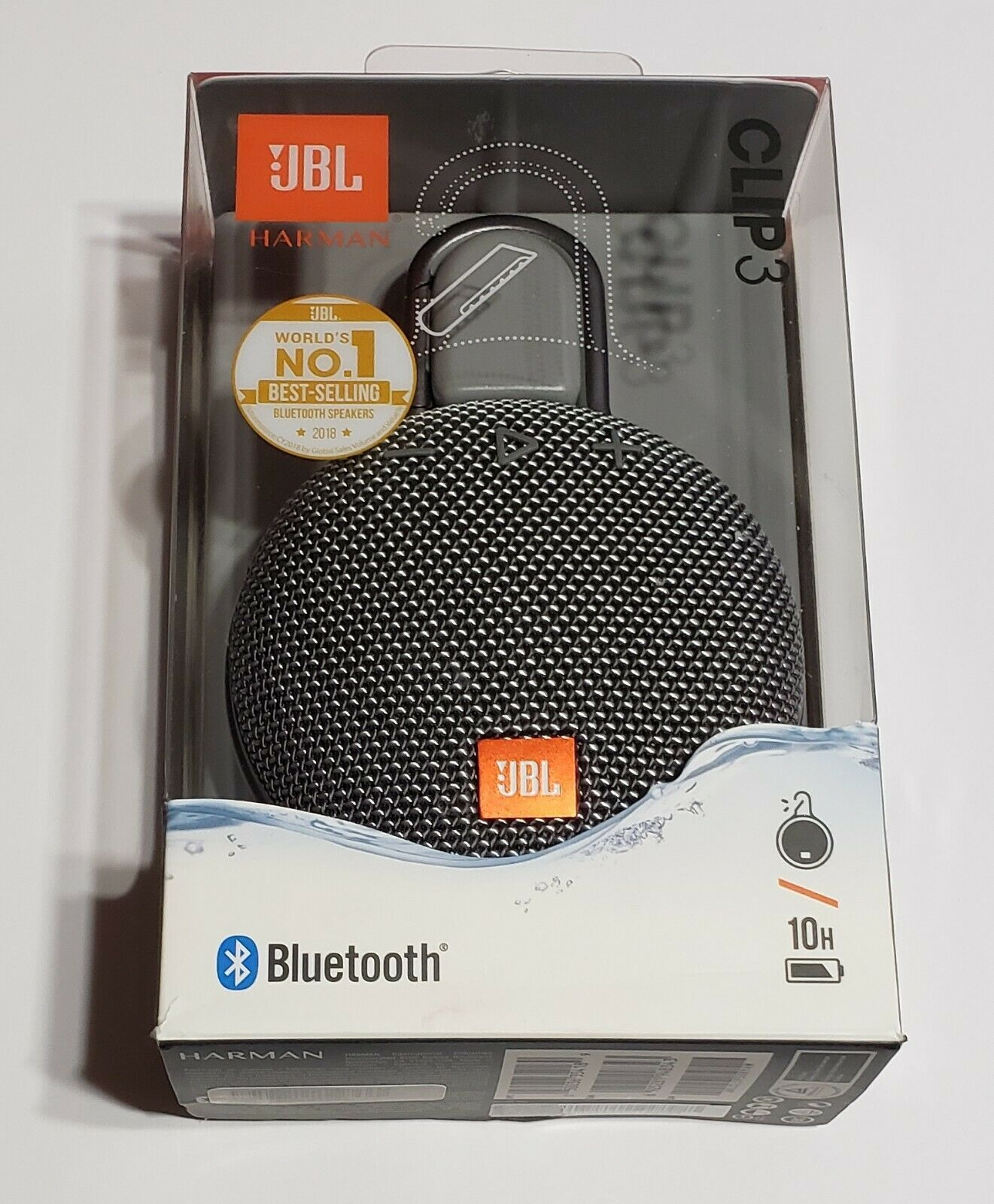 NEW JBL Clip 3 Portable Waterproof Wireless Speaker In Retail Packaging - GRAY - $42.95