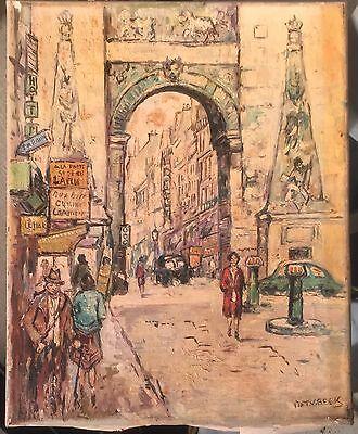 Vintage original Piet V. Beek Impressionist oil painting cityscape Paris