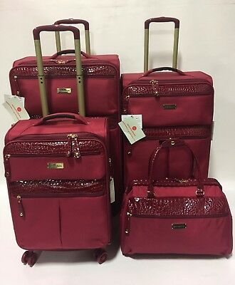 NEW SAMANTHA BROWN ULTRA LIGHTWEIGHT BURGUNDY 4PC SPINNER LUGGAGE SET EXPANDABLE