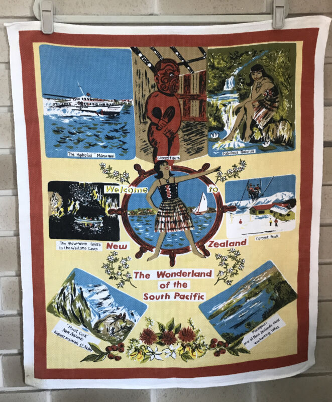 Vintage New Zealand Souvenir Tablecloth Wall Hanging Tea Towel South Pacific
