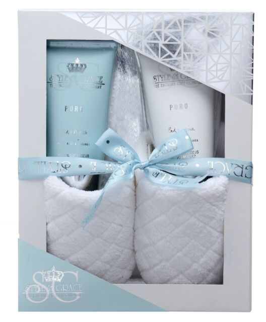Style & Grace Puro Pure Bliss Slipper Gift Set - Body Lotion, Body Wash,