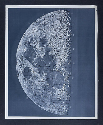 1960 Photographic Lunar Atlas Moon Photo Map No. 7 Quarter Moon Surface Craters