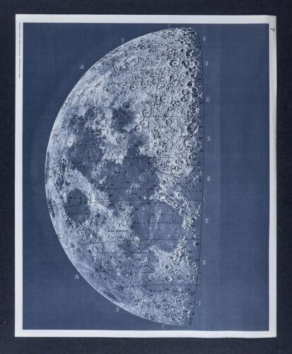 1960 Photographic Lunar Atlas Moon Photo Map No. 7 Quarter Moon Surface Craters