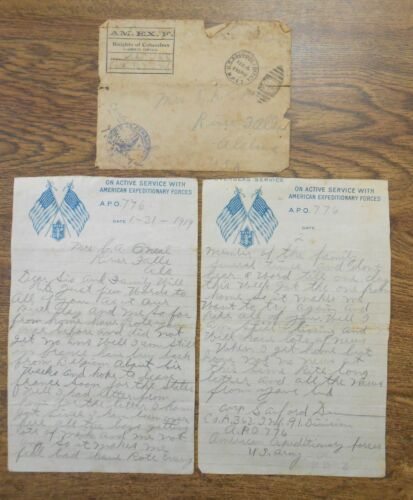 Orig WWI AEF 1919 US Active Service Letterhead & Envelope Knights of Columbus