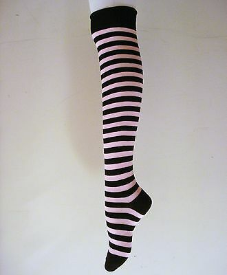 2 X SEXY THIGH HIGHS BLACK WITH PINK STRIPED OVER THE KNEE COTTON SOCKS  - Thigh High Socks With Stripes