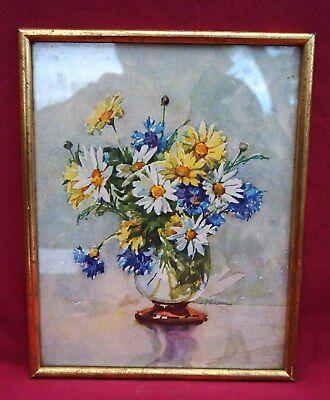 Vintage J Philippe Nicolas Markovitch Flowers Daisies Framed