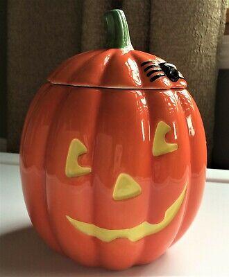 "NWT 7"" Hallmark Ceramic Jack O Lantern Pumpkin Cookie Jar Candy Dish New"