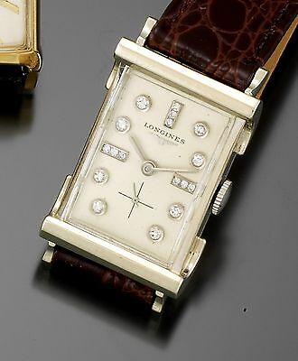 14K White Gold Diamond Dial Longines Dress Watch CA1940s