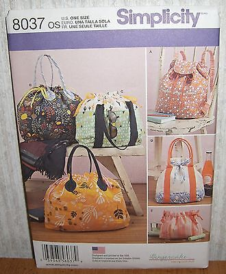 Purses Tote Bags BackPack Fashion Accessories Sewing Pattern/Simplicity 8037/UCN