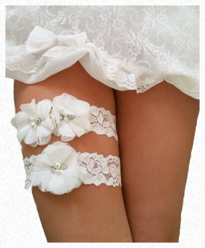 Ivory White Wedding Garter for Bride Set (2 Garters) Bridal Prom Lace Gift Chic
