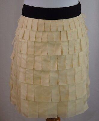J Crew Collection Size 8 Silk Tiered Flapper Skirt Ivory Black - Black Flapper Skirt