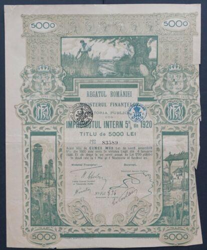 Romania - Romania State Internal Loan - 1920 - 5% bond for 5000 Lei