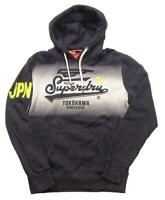 Superdry Men's Atlantic Navy Grit High Flyers Graphic Fleece Pullover Hoodie