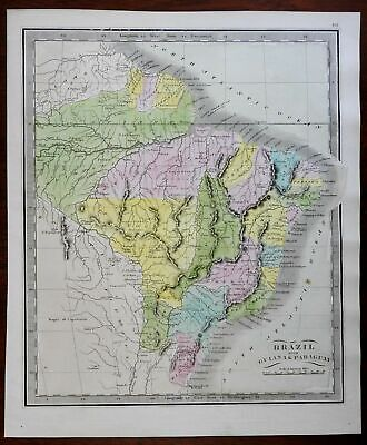 Brazil Paraguay Guyana Suriname French Guyana 1845 Greenleaf map