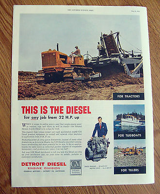 1952 GM General Motors Ad Detroit Diesel Engine Division Tractors Tugboats
