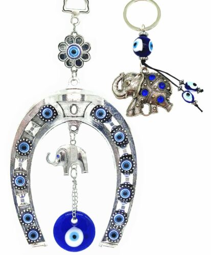 Blue Evil Eye with Horse Shoe Protection amulet wall hanging deocration ornament