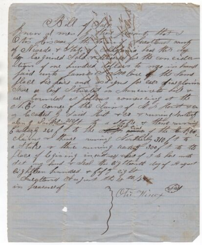 Rare 1858 Bill of Sale for Mining Claim from Sweetland Nevada County CA