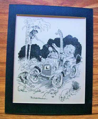 Print Monkey Giraffe Jeff Cook Jungle Animals Jalopy 1930s Bookplate 8x10 Matted