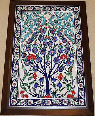 "Framed 19""x27"" Turkish Handpainted Iznik Tree of Life Pattern Tile PANEL MURAL"