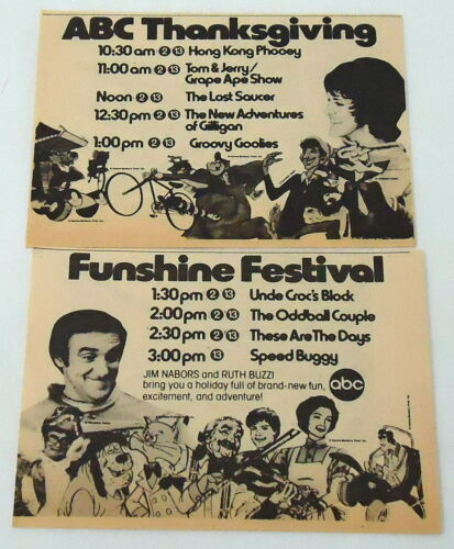 1975 two part ABC tv ad~HONG KONG PHOOEY,LOST SAUCER,SPEED BUGGY,GROOVY GOOLIES+