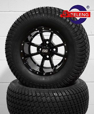 "GOLF CART 12"" BLACK STORM TROOPER WHEELS and 23"" STREET TURF TIRES (SET OF 4)"