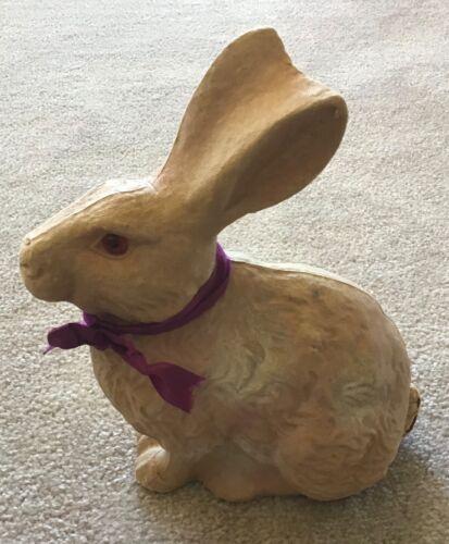 Pulp Paper Mache Easter Bunny Rabbit w/Clear Plastic Orange Eyes F.N. Burton Co.
