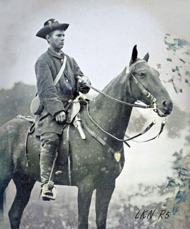 8 by 10 Civil War Photo Print Union Soldier, Horseback, Saddle Pistols, Canteen
