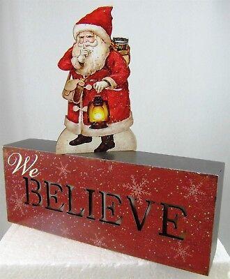 Christmas SANTA We Believe LED Table Decor Lights Up Battery Timer 2 pc set ()