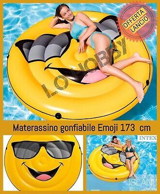 Materassino gonfiabile isola galleggiante grande smile emoji per piscina da mare