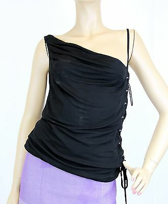 $650 NEW Authentic Gucci Sleeveless Top w/Lace-up Design, Black, M, 258738