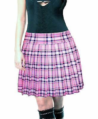 PLUS SIZE PINK STRETCH LYCRA SCHOOL GIRL TARTAN PLAID PLEATED LONG - Plus Size School Girl Skirts