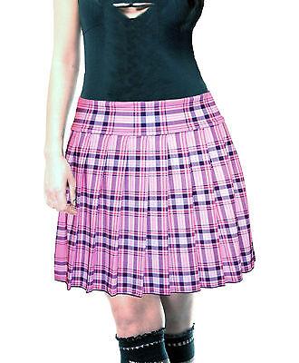 PLUS SIZE PINK STRETCH LYCRA SCHOOL GIRL TARTAN PLAID PLEATED LONG - Plus Size School Girl Skirts