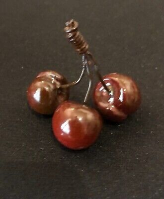 Vintage RED Alabaster CHERRIES / CHERRY Cluster - Early Italian Carved Stone