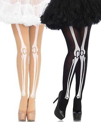 LAG 7733 Leg Avenue Strumpfhose Strümpfe Skelett Bones Knochen Halloween Kostüm