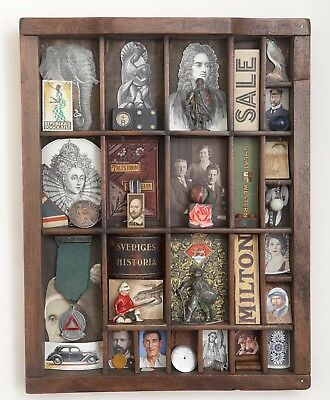 Small Wooden Printers Tray Artwork with many Vintage Original Items Included