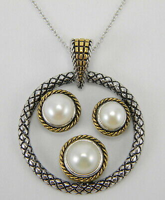 White Cultured Fw Pearl Black Rhodium Plated Sterling Silver Pendant with Chain Fw White Pearl Pendant